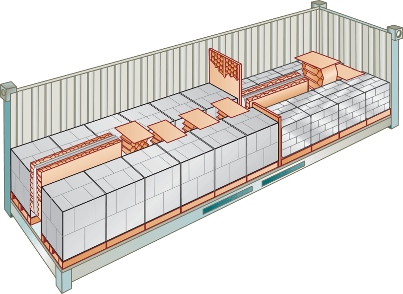 Cross Section of a trailer loaded with cargo secured with a variety of products from Down River