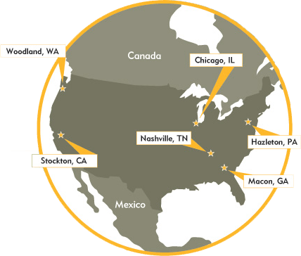 North American footprint, with products and resources